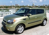 A three-quarter front view of a 2010 Kia Soul Exclaim
