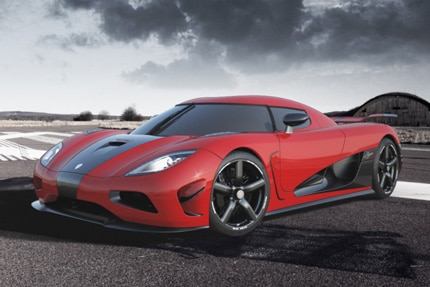 A three-quarter front view of a Koenigsegg Agera R, one of the fastest production cars in the world