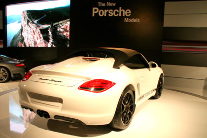 The 2011 Porsche Boxster Spyder on display at the 2009 Los Angeles Auto Show