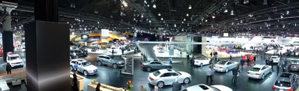 An overhead view of the 2013 Los Angeles Auto Show