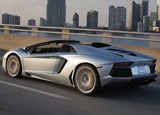 A three-quarter rear view of the Lamborghini Aventador LP 700-4 Roadster