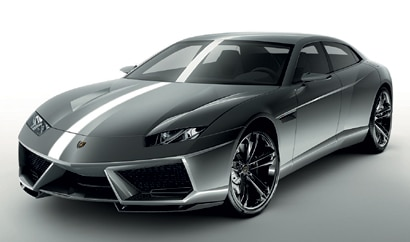A three-quarter front view of the Lamborghini Estoque, previously featured on GAYOT's Top 10 4-Door Sports Cars