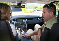 Instructor Greg Nickolas explains the Land Rover's Terrain Response System