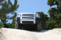 The Land Rover LR3 prepares for a steep hill descent