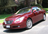 A three-quarter front view of a red Lexus ES 350
