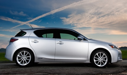 A side view of a silver 2011 Lexus CT 200h