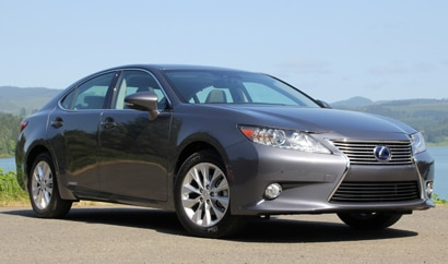 A three-quarter front view of the Lexus ES 300h, one of GAYOT's Top 10 Hybrid Cars
