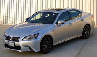 A three-quarter front view of a silver 2013 Lexus GS 350 F Sport