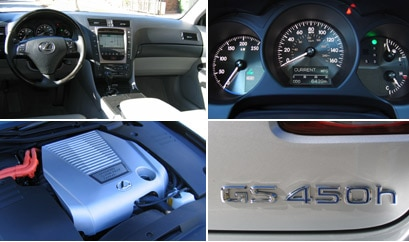 Various views of the 2007 Lexus GS 450h's interior, engine and logo