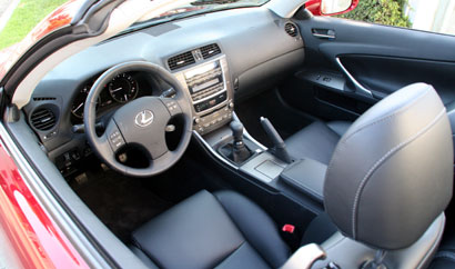 A front interior view of a 2010 Lexus IS 250C