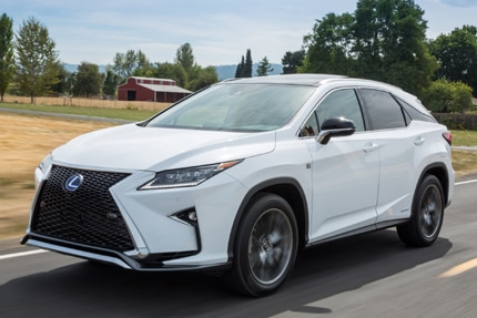 A three-quarter front view of the 2016 Lexus RX 450h