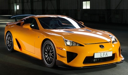 A three-quarter front view of a 2012 Lexus LFA with the limited-edition Nürburgring Package