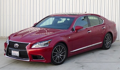 A three-quarter front view of a 2013 Lexus LS 460 F Sport