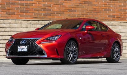 A three-quarter front view of the 2015 Lexus RC 350 F Sport