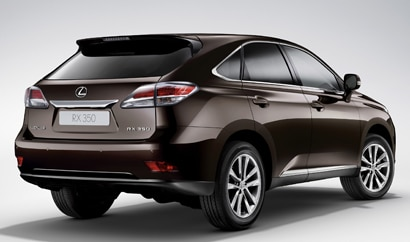 A three-quarter rear view of a 2013 Lexus RX 350
