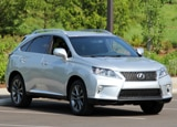 A three-quarter front view of a silver 2013 Lexus RX 350 F Sport