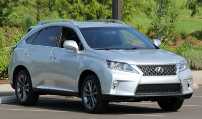 A three-quarter front view of a 2013 Lexus RX 350 F Sport