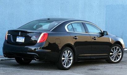A three-quarter rear view of the 2010 Lincoln MKS EcoBoost