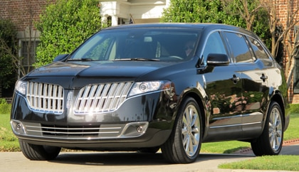 A three-quarter front view of a 2010 Lincoln MKT EcoBoost