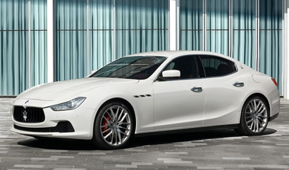 A three-quarter front view of the 2016 Maserati Ghibli, previously featured on GAYOT's Top 10 4-Door Sports Cars