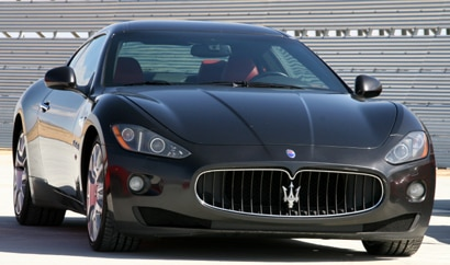 A three-quarter front view of a Maserati GranTurismo