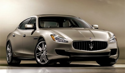 A three-quarter front view of the Maserati Quattroporte GTS