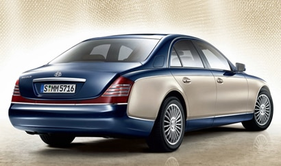 A three-quarter rear view of a Maybach 57