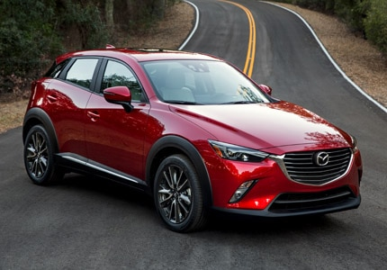 A three-quarter front view of the Mazda CX-3