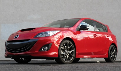 A three-quarter front view of a 2013 Mazdaspeed3 Touring