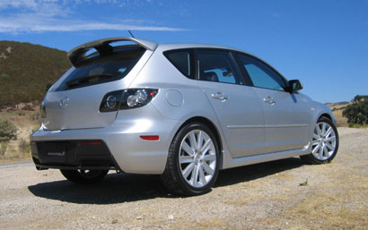 A three-quarter rear view of a 2007 Mazdaspeed3