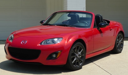 A three-quarter rear view of 2012 Mazda MX-5 Miata Special Edition PRHT