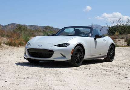 A three-quarter front view of the Mazda MX-5 Miata