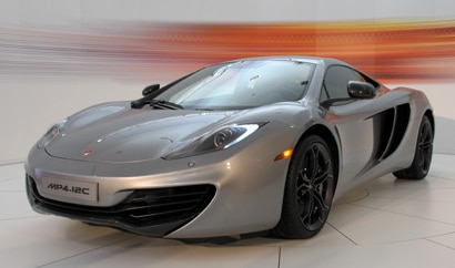 A three-quarter front view of a 2012 McLaren MP4-12C