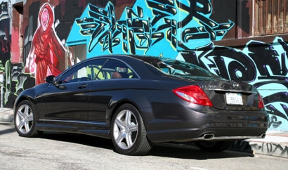 A three-quarter rear view of a black 2008 Mercedes-Benz CL550 in Los Angeles