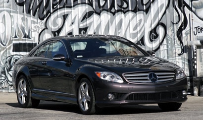 A three-quarter front view of a black 2008 Mercedes-Benz CL550 in Los Angeles