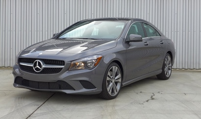 A three-quarter front view of a mercedes-benz cla250