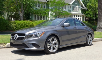 A three-quarter front view of the 2014 Mercedes-Benz CLA250 4MATIC