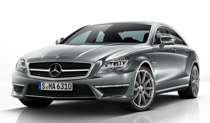 A three-quarter front view of the 2014 Mercedes-Benz CLS63 AMG