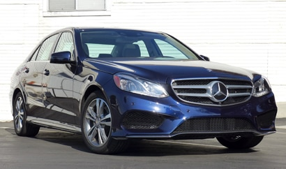 A three-quarter front view of the 2014 Mercedes-Benz E250 BlueTEC