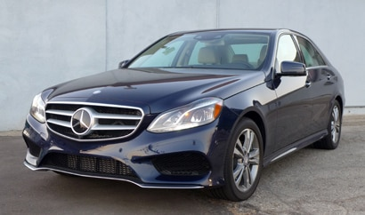 A three-quarter front view of the 2014 Mercedes-Benz E250 BlueTEC 4MATIC