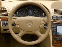 A view of the 2008 Mercedes-Benz E320 BlueTec's steering wheel