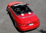 An aerial view of a red 2011 Mercedes-Benz E550 Cabriolet