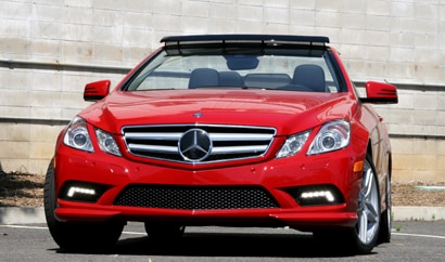 A front view of a red 2011 Mercedes-Benz E550 Cabriolet