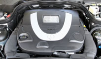 A view of the 2010 Mercedes-Benz E550's V8 engine