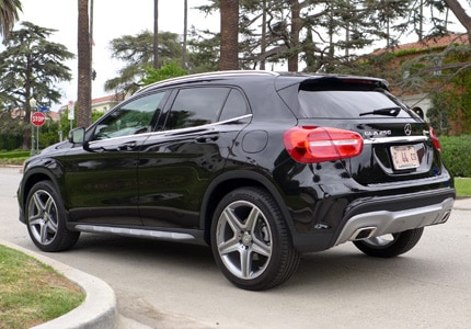 A three-quarter rear view of the 2015 Mercedes-Benz GLA250