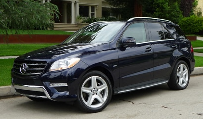 A three-quarter rear view of a 2013 Mercedes-Benz ML550, one of GAYOT's Top 10 Cars for Moms