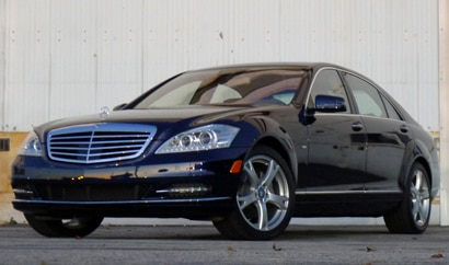 A three-quarter front view of a 2012 Mercedes Benz S400 Hybrid