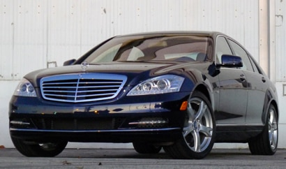 A three-quarter front view of a 2012 Mercedes-Benz S400 Hybrid