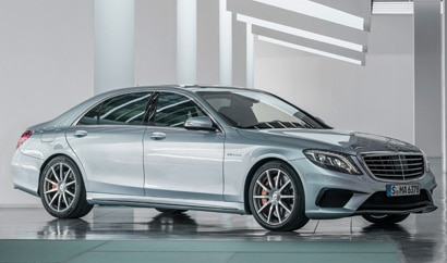 A three-quarter front view of a 2014 Mercedes-Benz S63 AMG