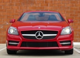 A front view of a red 2012 Mercedes-Benz SLK350